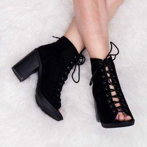 H&M black suede lace up low open toe block heel